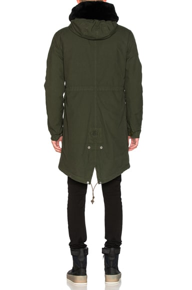 Canvas Parka With Shaved Beaver Fur