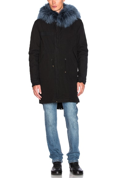 Mr & Mrs Italy Canvas Parka With Rabbit Fur in Black & Fog Blue
