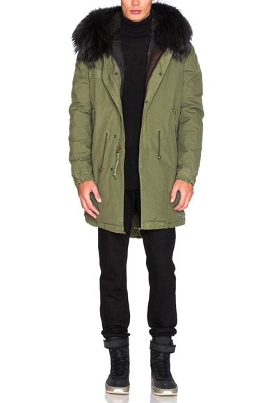 Mr & Mrs Italy Canvas Parka With Rabbit Fur in Army & Petrol Ink