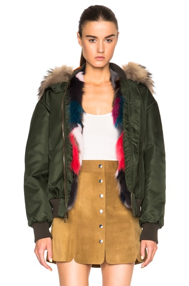 Mr & Mrs Italy Bomber Jacket with Fox & Raccoon Fur in London Green & Multi Fox