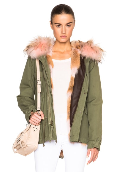 Mr & Mrs Italy Mini Army Parka Jacket with Coyote Fur in Panter Pink