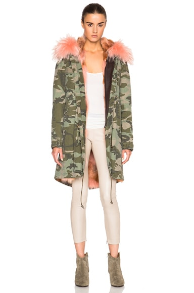 Mr & Mrs Italy Midi Army Parka Jacket with Coyote Fur in Camo & Kahawai Pink
