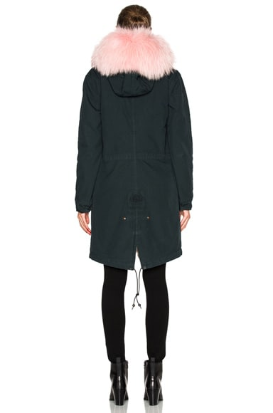 Long Army Parka Jacket With Rabbit & Raccoon Fur