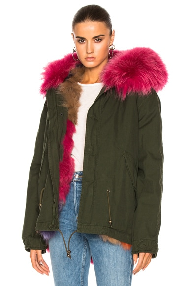 Mr & Mrs Italy Mini Parka Jacket in London Green & Orange Iris