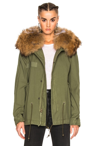 Mr & Mrs Italy Mini Parka Jacket With Raccoon Fur in Army & Natural White