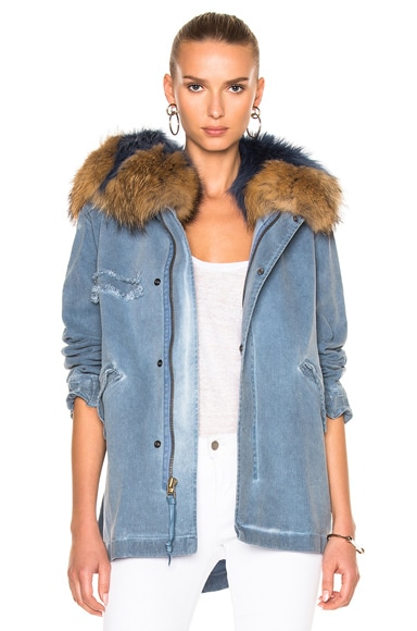 Denim Mini Parka Jacket With Raccoon Fur in S