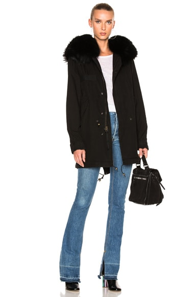 Mr & Mrs Italy Midi Parka Jacket With Raccoon Fur in Black & Black Fur
