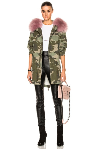Mr & Mrs Italy Midi Parka Jacket With Raccoon Fur in Camouflage Army & Sofia Pink