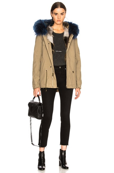 Canvas Parka With Raccoon & Fox Fur Trim