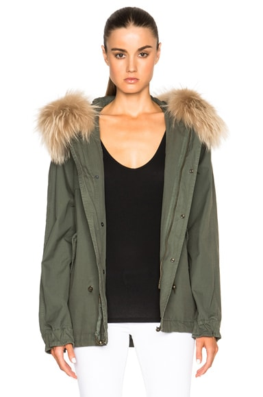 Mr & Mrs Italy Short Canvas Parka Jacket with Raccoon Fur in Slate Green & Cream