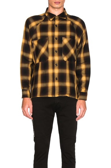 Mr. Completely Raglan Flannel in Gold Shadow Plaid