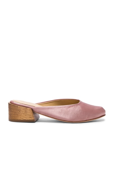 MARI GIUDICELLI Satin Leblon Mules in Rose Satin