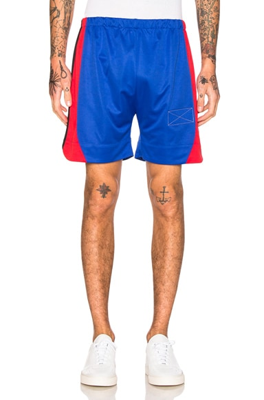 Martine Rose Long Sport Shorts in Blue & Red