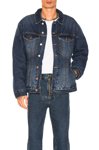 Darted Denim Jacket with Quilted Lining