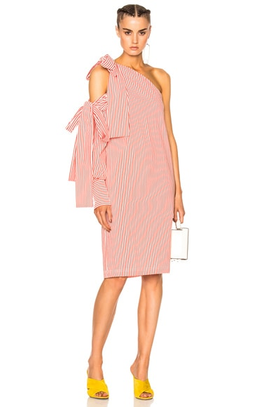 MSGM Bow Pinstripe Dress in Pink