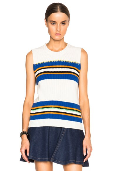 MSGM Striped Sleeveless Sweater in White Multi