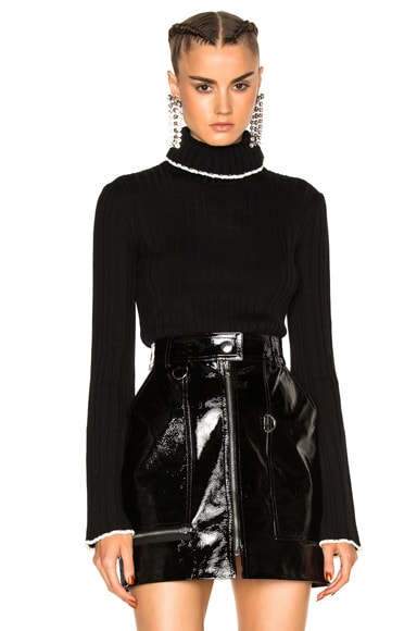 MSGM Ruffle Turtleneck Sweater in Black