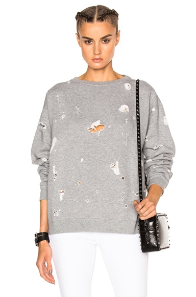 MSGM Shredded Pullover Sweater in Grey