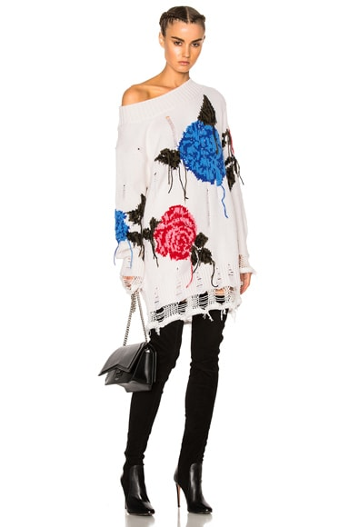 MSGM Floral Sweater in White