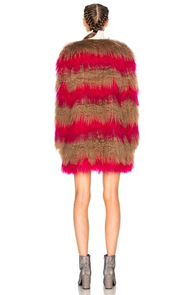 Stripe Fur Coat