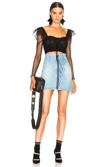 Ruffle Trim Zip Skirt