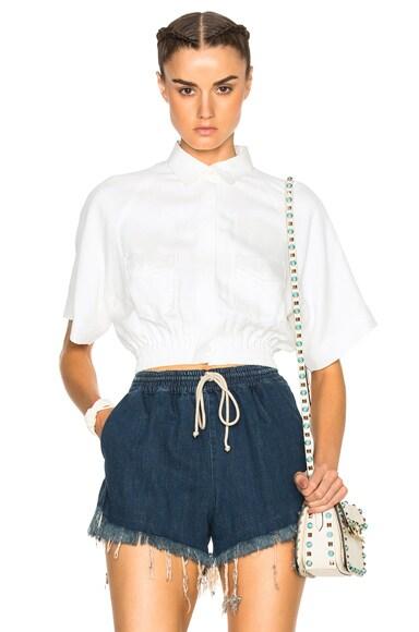 Elastic Waist Short Sleeve Shirt
