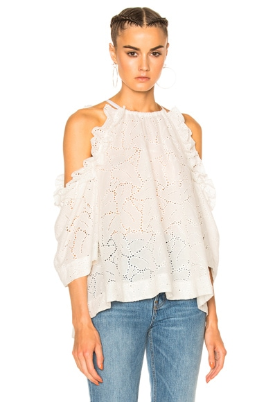 MSGM Cold Shoulder Top in White