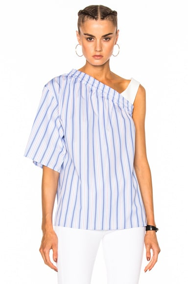 MSGM One Shoulder Top in Blue