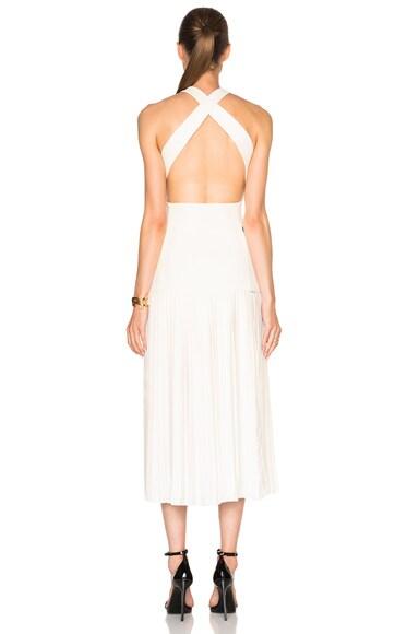 Bonded Crepe & Pleats Gown
