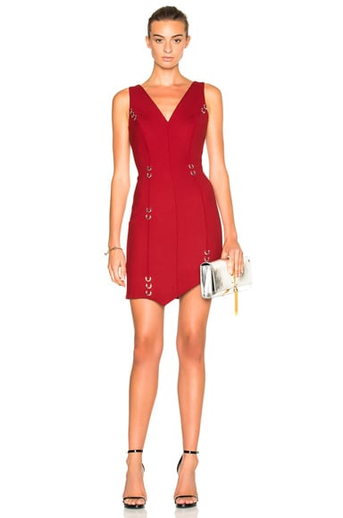 Mugler Metal Hoops Mini Dress in Cherry