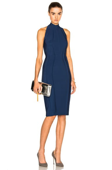 Mugler Sleeveless Mega Milano Dress in Ocean Blue