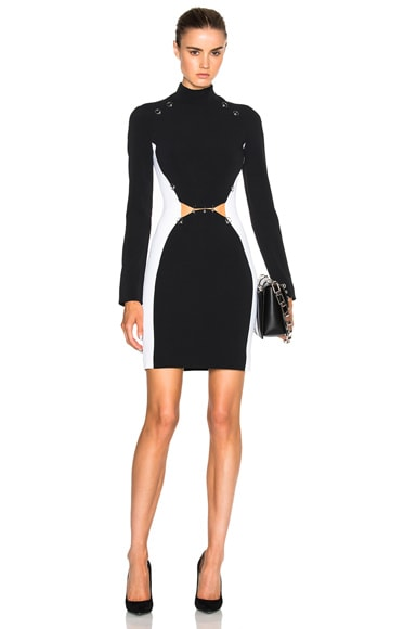 Mugler Pierced Fitted Cady Dress in Black & White