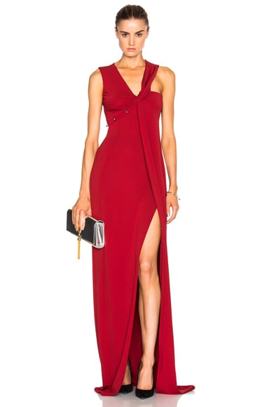 Mugler Jersey Crepe Dress in Cherry