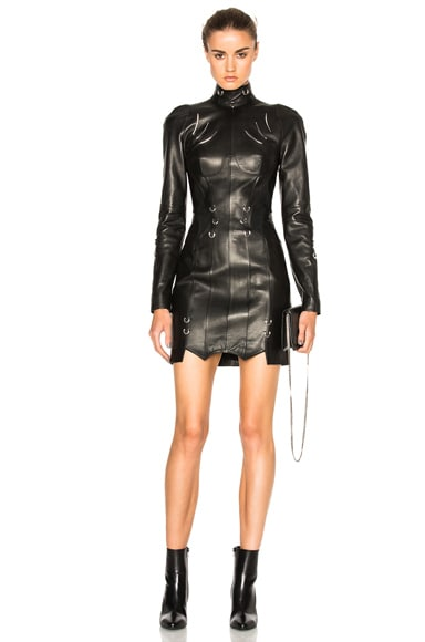Leather Piercing Mini Dress