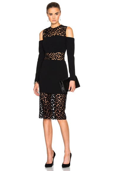 Mugler Leopard Velour & Fitted Cady Dress in Black