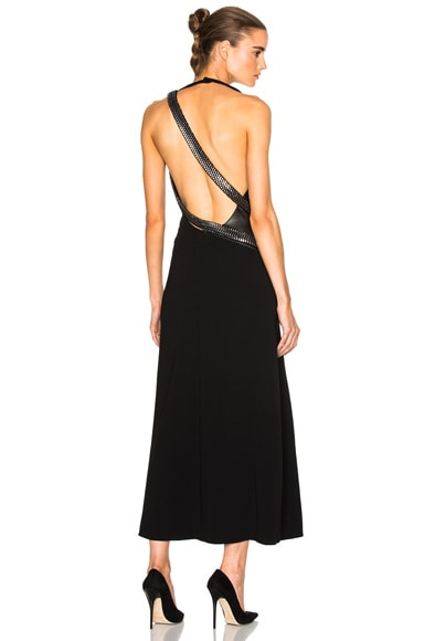 Mugler Fitted Cady & Lace Chain Gown in Black