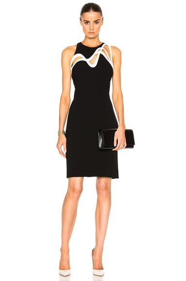 Mugler Embossed Wave Technical Cady Dress in Black