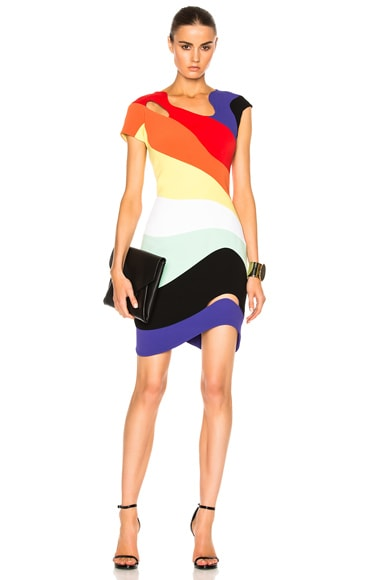 Mugler Technical Cady Dress in Rainbow