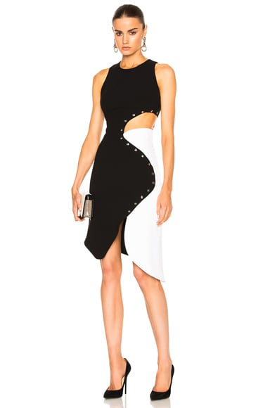 Mugler Technical Cady & Metal Dress in Black & White