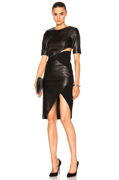 Mugler Soft Leather & Technical Cady Dress in Black