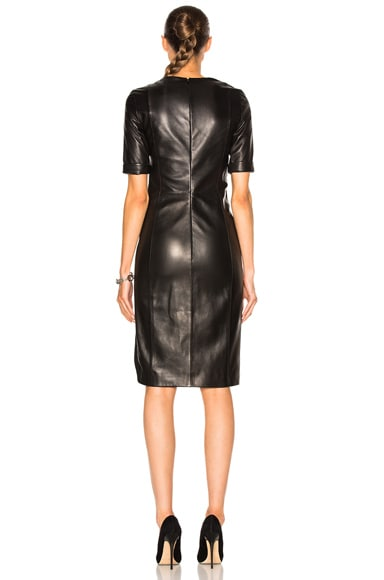 Soft Leather & Technical Cady Dress