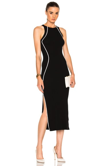 Mugler Contrasted Line Knit Dress in Black