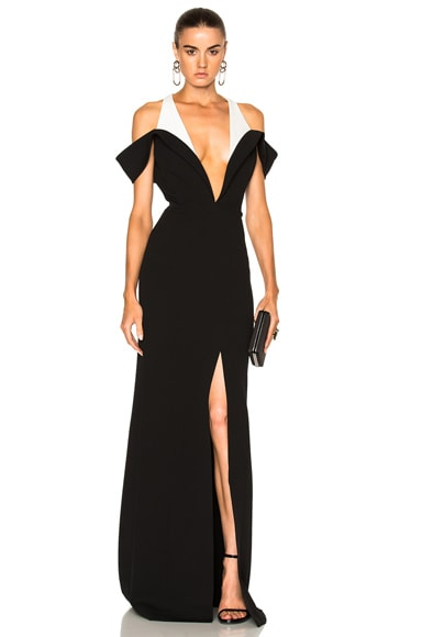 Mugler Technical Cady Dress in Black & Off White