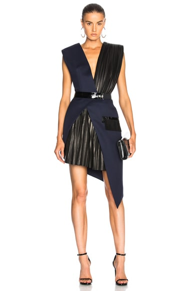 Wool Twill & Patent Leather Belted Wrap Dress