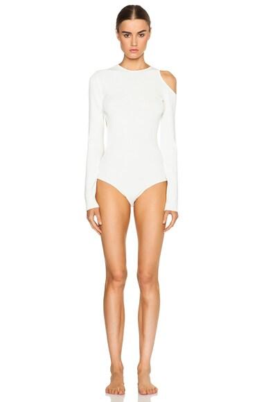 Mugler Cutout Bodysuit in Off White