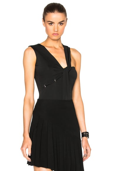 Mugler Jersey Crepe Bodysuit in Black