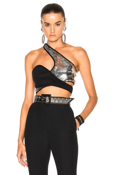 Mugler Mermaid Full Sequins Bra in Silver