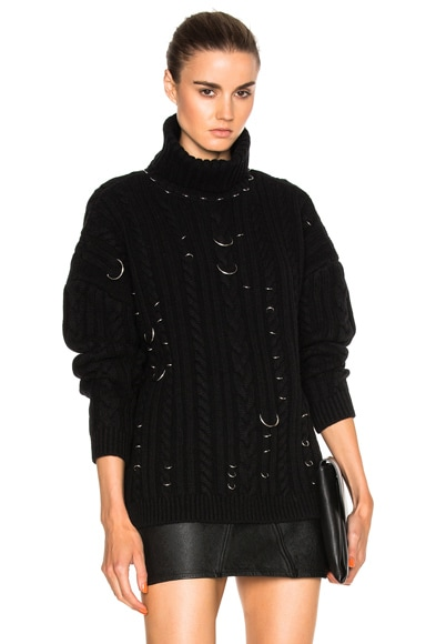 Mugler Cable Knit Piercings Sweater in Black