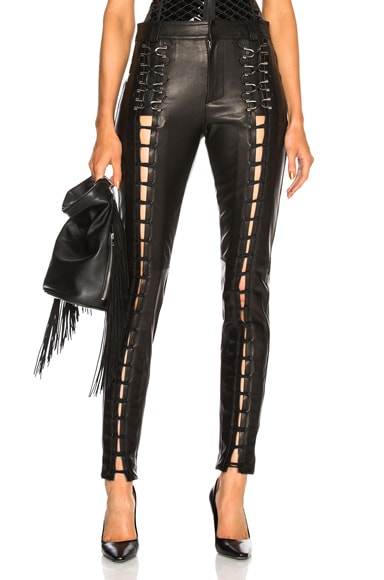 Leather Lace Up Leggings