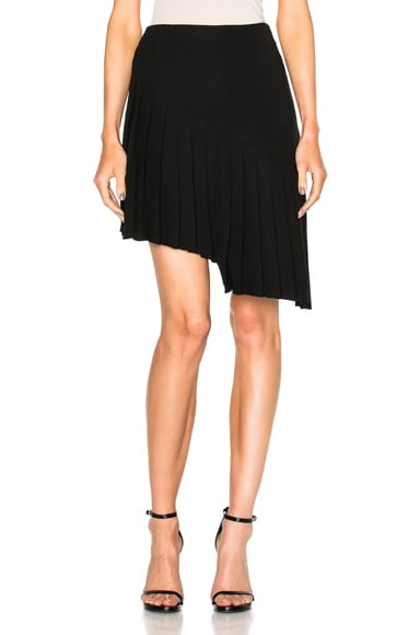 Mugler Asymmetrical Pleated Skirt in Black